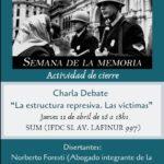 """Charla Debate """"La estructura represiva. Las víctimas"""""""